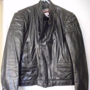 Size 38 Black Leather Cafe Racer Motorcycle Jacket